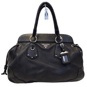 PRADA Black Vitello Daino Satchel Bag